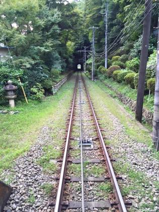 Mount Takao: The view form the back of the funicular.